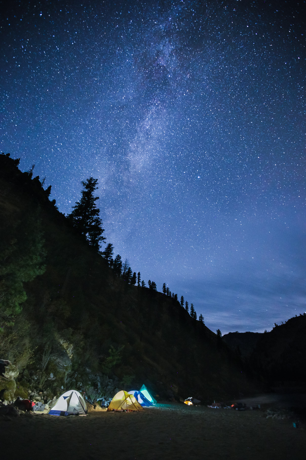 Stars over camp along the Salmon River